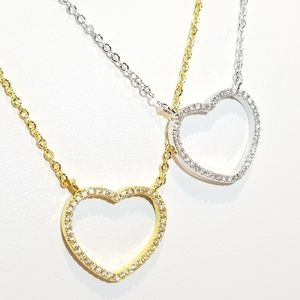 Jewelry - Dainty Bling Pave CZ Heart Necklace NEW
